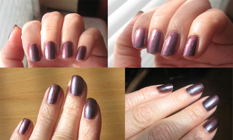 Models Own Purple Blue swatches in different light