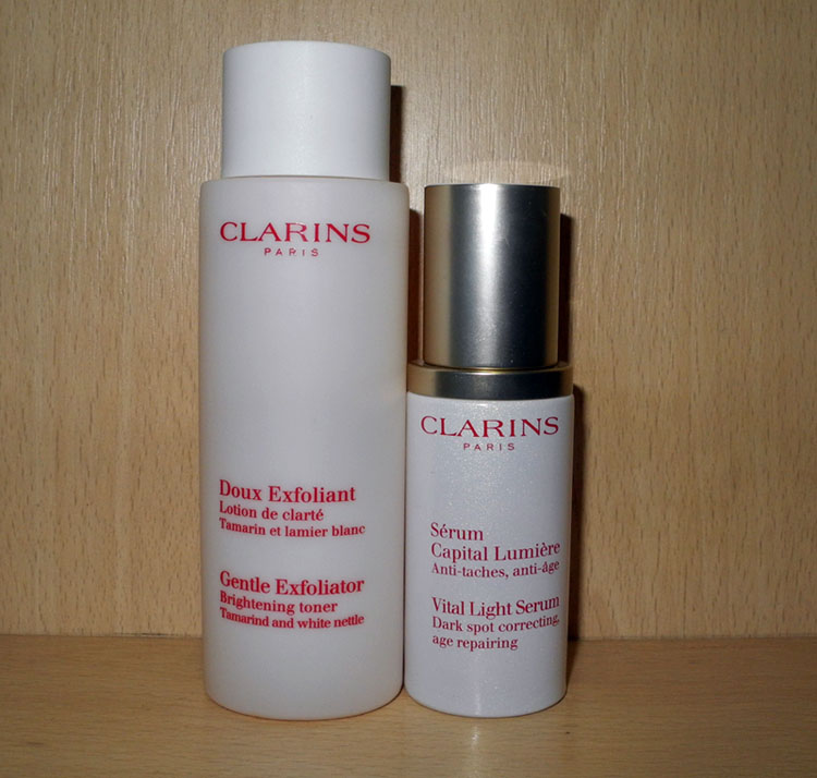 Clarins gentle exfoliating brightening toner  and Vital light serum