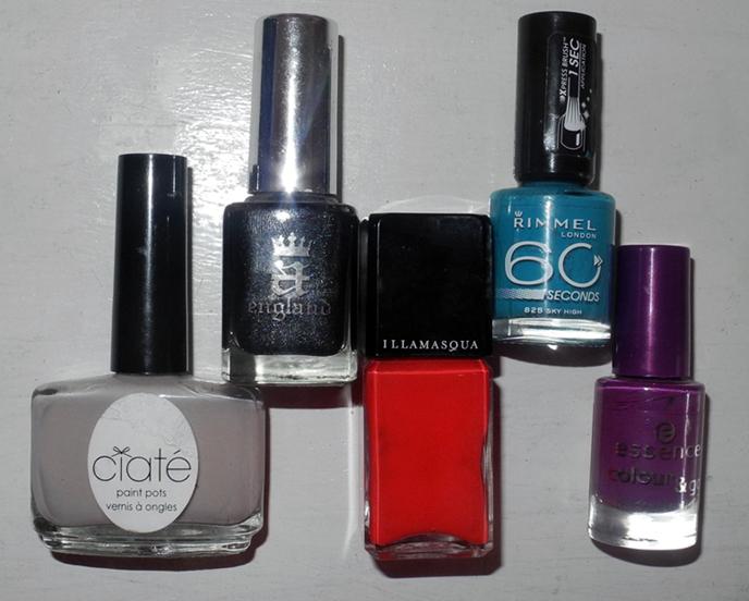 Nail polishes Illamasqua, Ciate, A England, Rimmel, Essence