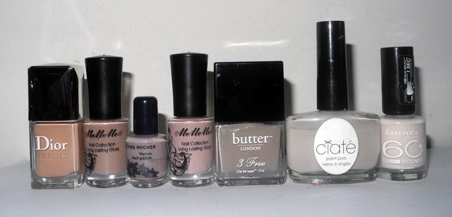 Nude Nail polishes Dior, Ciate, MeMeMe, butter LONDON, Yves Rocher,Rimmel