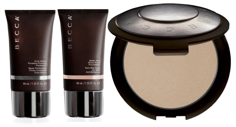 BECCA Cosmetics Ever-Matte  Collection Poreless Priming Perfector, Foundation and Powder
