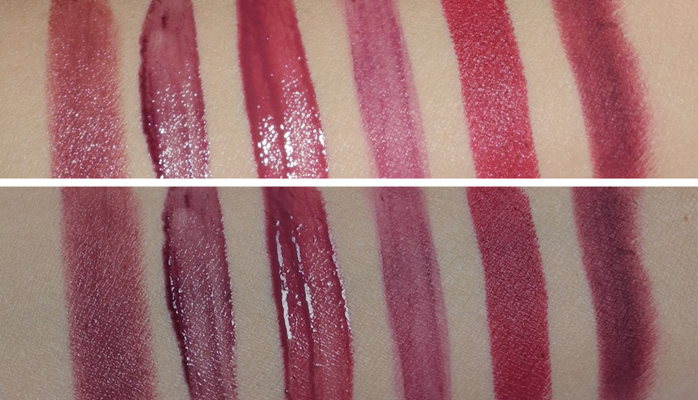 Berry and Plum lip products for Autumn Winter makeup4all swatched