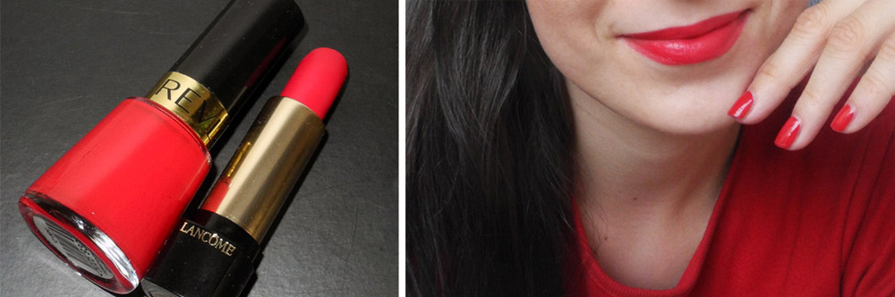 Red lipstick by Lancome and Red nail polish by Revlon makeup swatch