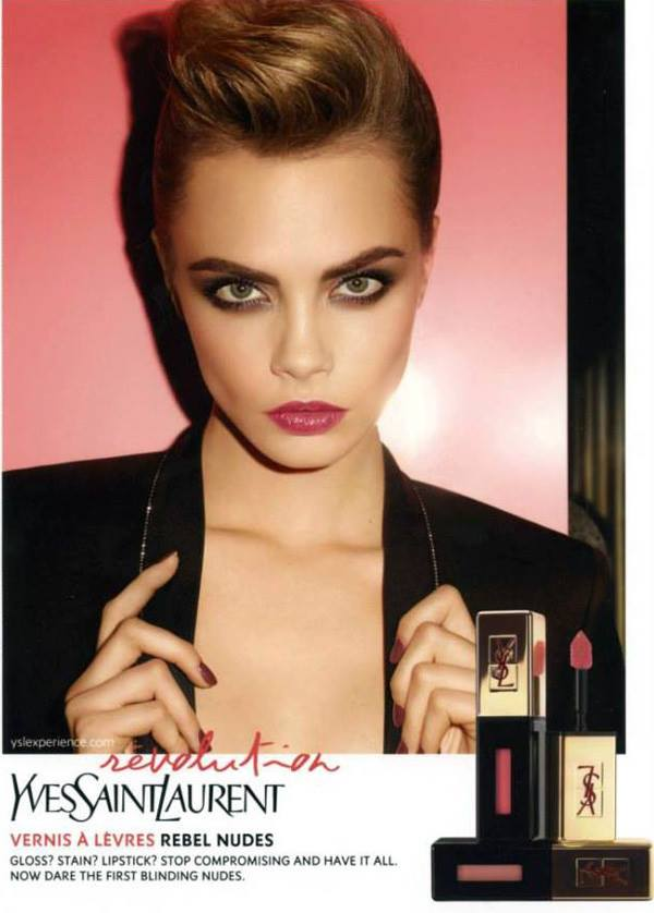 Yves Saint Laurent Rebel Nudes Glossy Stains promo with Cara Delevingne