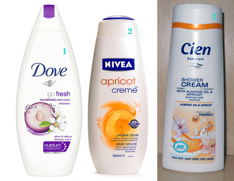 Affordable Shower Gels Dove, Cien and Nivea