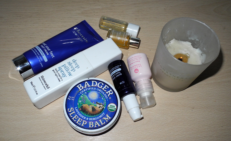 Relaxing and De-stress beauty products elemis, This Works, Badger, Aromatherapy