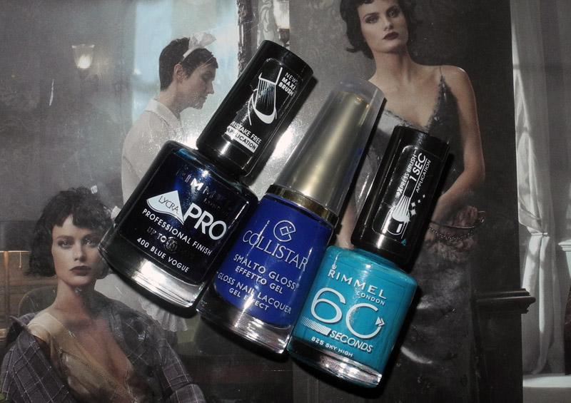 Blue nail polish Rimmel and Collistar