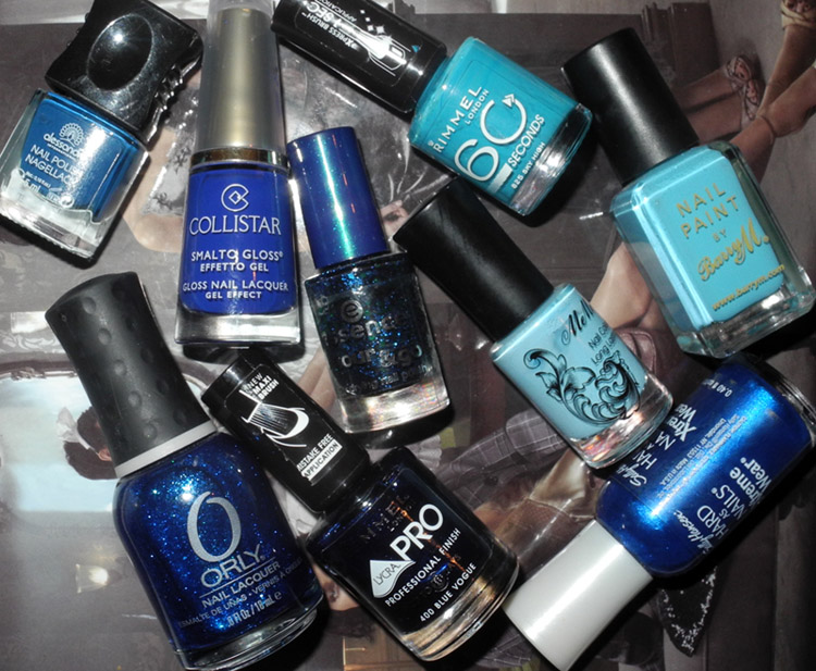 Blue nail polish orly, Collistar, Rimmel, Alessandro, Essence, Barry M, MeMeMe