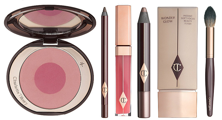 Charlotte Tilbury makeup range blush, gloss, eye products and brush