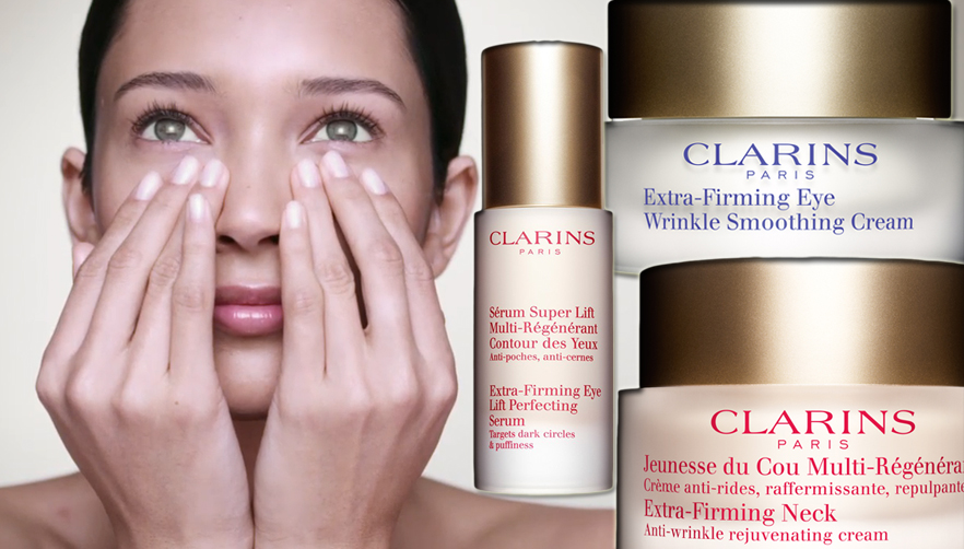 Clarins Extra-Firming eye cream and serum and neck cream