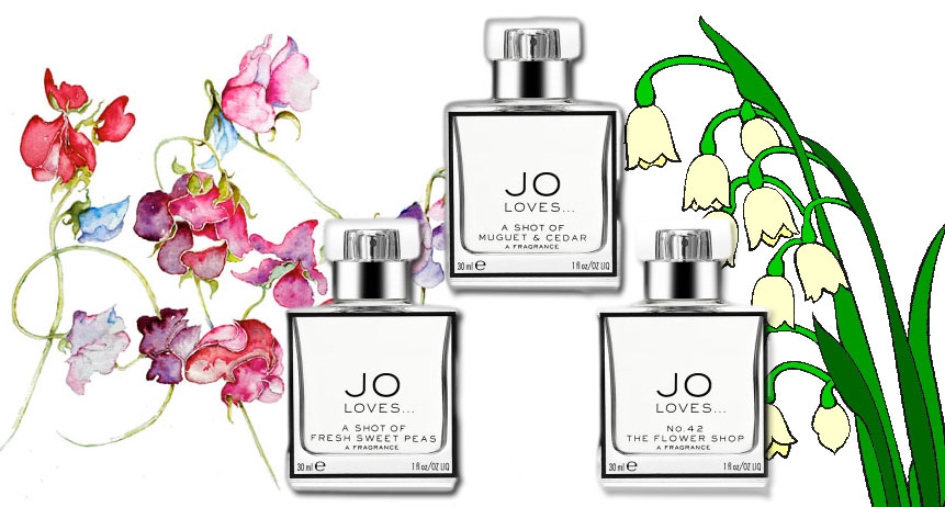 Jo-Loves-Fragrances-A-shot-of-Muguet-&-Cedar,-Fresh-Sweet-Peas,-N0-42-Flower-Shop