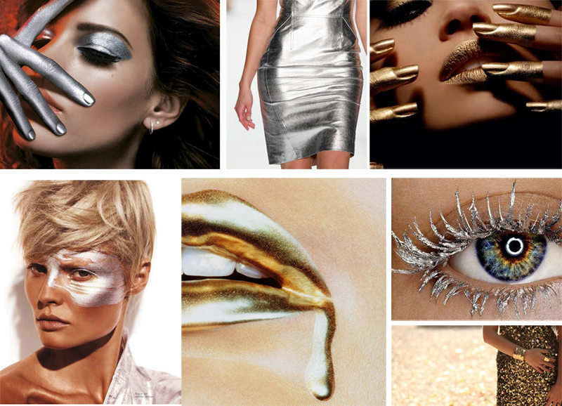 Silver and Gold moodboard makeup4all beauty and clothes