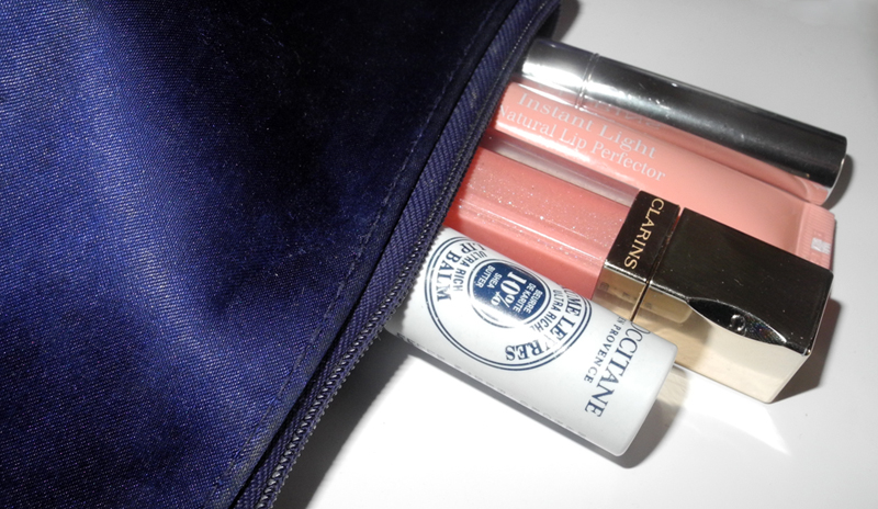 Inside My Makeup Bag Lip Products clarins becca l'occitane
