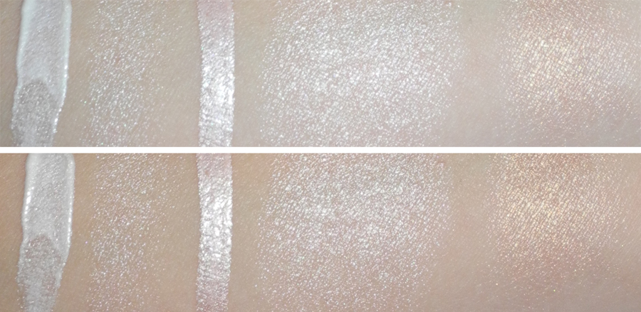 Highlighters BECCA Jouer Benefit swatches