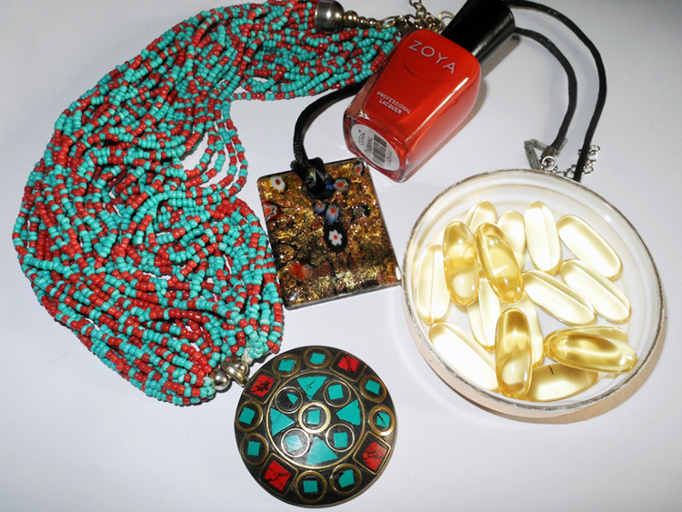 Makeup4all necklaces, red nail polish omega 3 vitamins