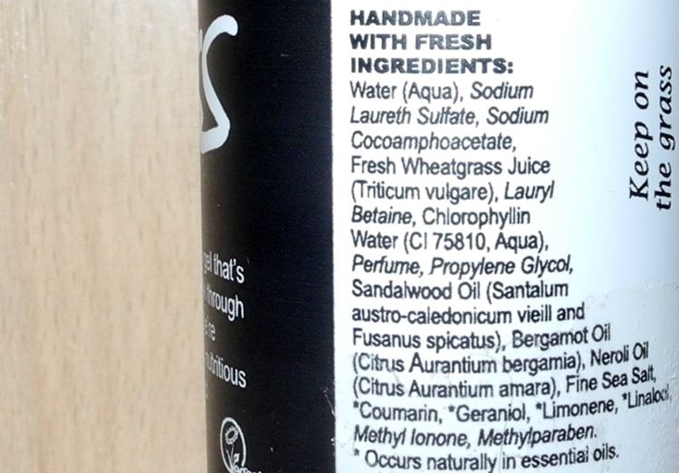 Lush Grass Shower Gel Review ingredients