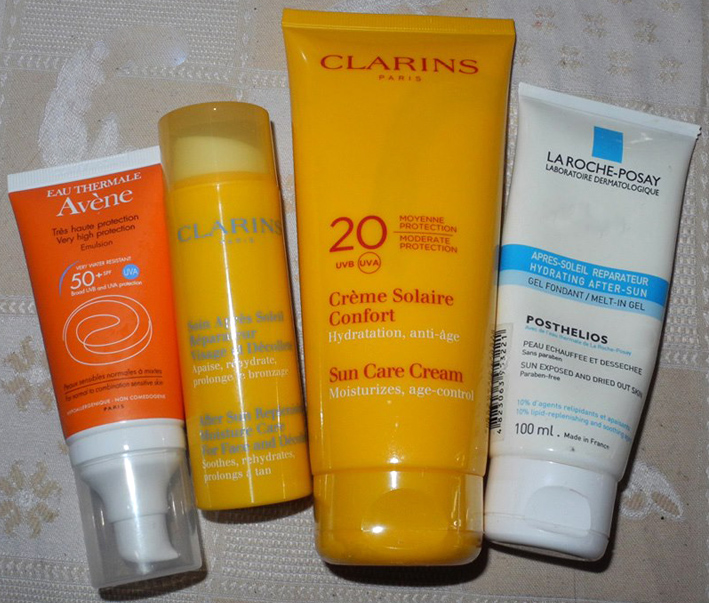 Sun protection Clarins, Avene, la Roche Posay, SPF and after sun skincare