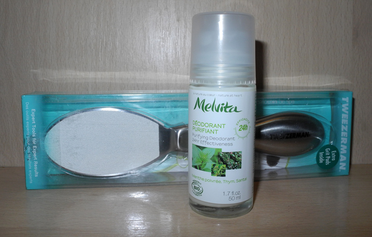 beauty purchases Melvita Purifying Roll-On Deodorant and Tweezerman Spa Callus Smoother