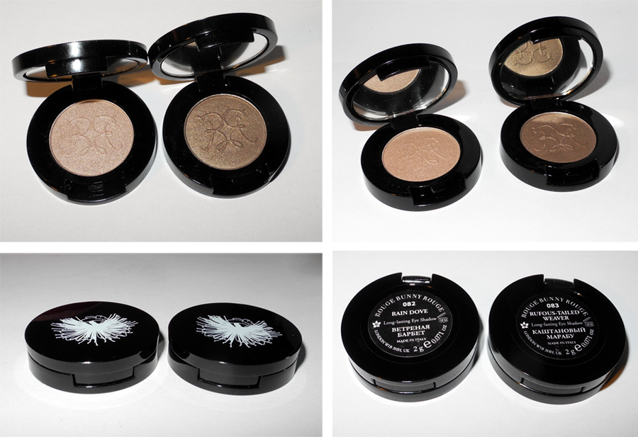 Rouge Bunny Rouge Eye Shadows in Rain Dove and Rufous-tailed Weaver Swatches