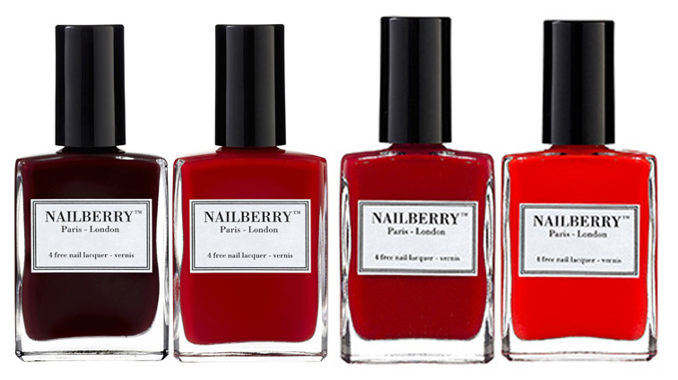 Nailberry nail polish Noir Berry, Rouge, Orgasmic Berry and Pop my Berry