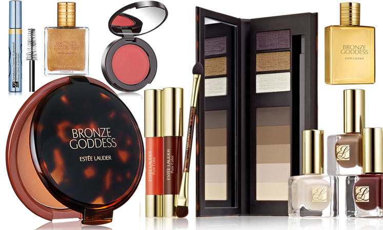 Estee Lauder Bronze Goddess Makeup Collection for Summer 2014 products display