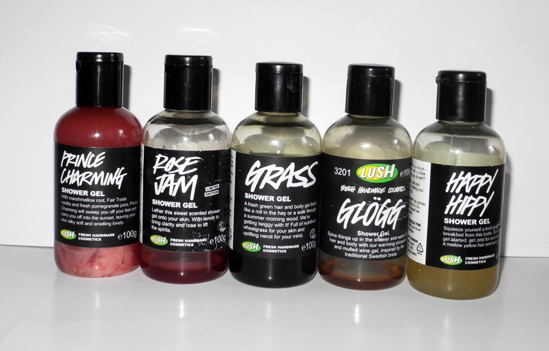 Lush Shower Gels Rose Jam, Prince Charming, Happy Hippy, Glogg and Grass
