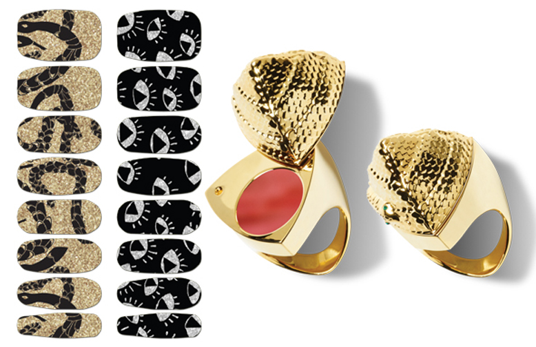 Smashbox Santigolden Makeup Collection for Summer 2014 nail design and gloss ring