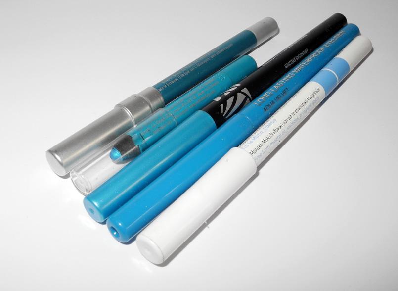 Aqua Blue and Turquoise Eye Pencils for Summer max factor daniel sandler urban decay korres