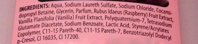 Original Source Vanilla Milk & Raspberry Shower Gel Review ingredients