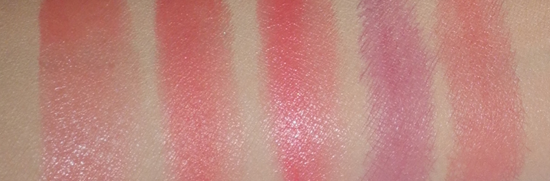 Red(ish) Blushers Hourglass, Clarins, Benefit, Max Factor and MeMeMe swatches