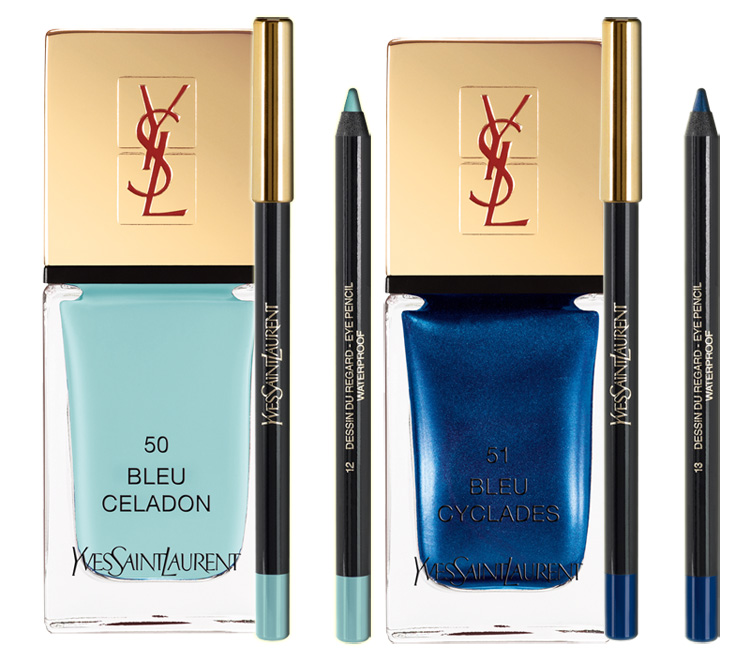 YSL Bleus Lumiere Makeup Collection for Summer 2014 blue eyes and nails