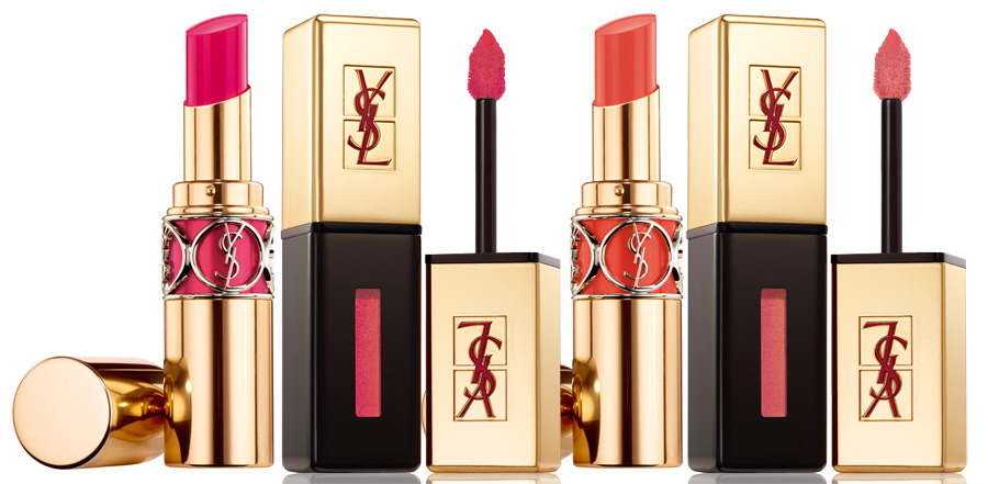 YSL Bleus Lumiere Makeup Collection for Summer 2014 pink and coral lips