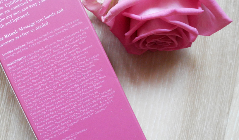 Aromatherapy Associates Renewing Rose Hand Cream Review ingredients