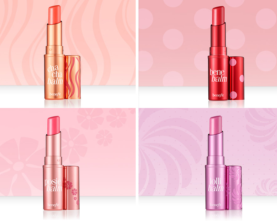 Benefit Hydrating Tinted Lip Balms Chachabalm, Benebalm Posiebalm and Lollitint summer 2014