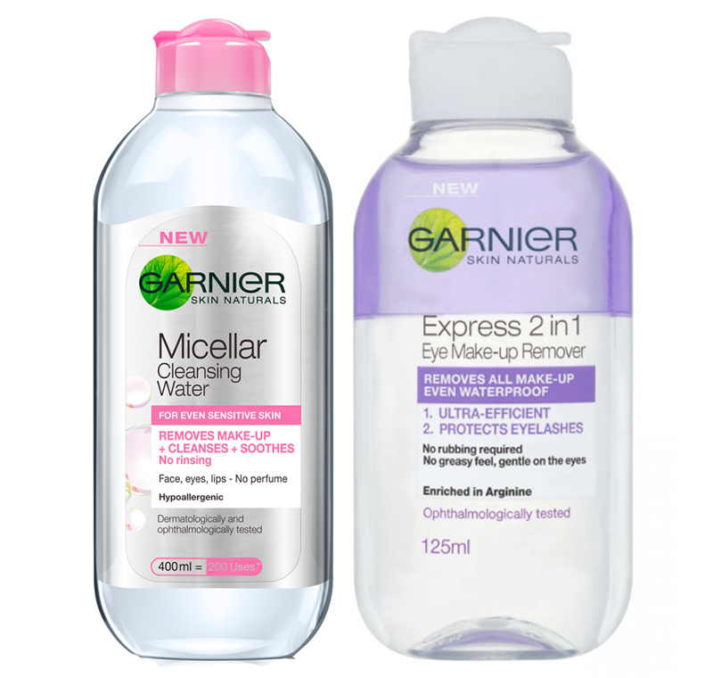Garnier Cleansing Micellar Lotion and 2 in 1 Express eye makeup remover review