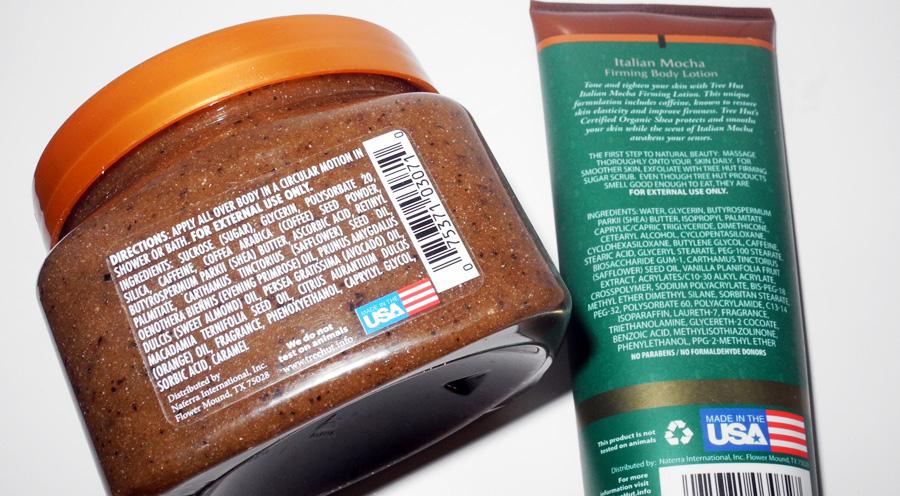 Tree Hut Italian Mocha Firming Sugar Scrub and Italian Mocha Firming Body Lotion Review ingredients