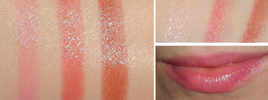 Clarins Lip Balm Crayons  Review and Swatches 01 My Pink, 03 Tender Coral, 06 Soft Coffee 1