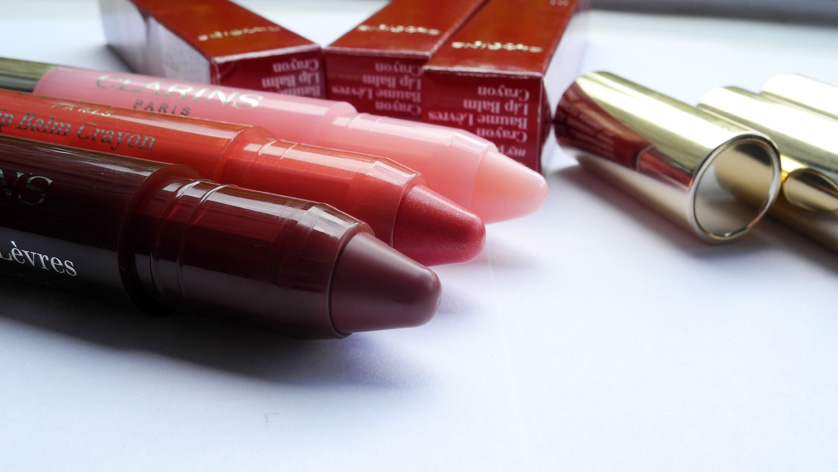 Clarins Lip Balm Crayons  Review and Swatches 01 My Pink, 03 Tender Coral, 06 Soft Coffee