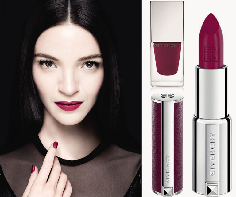 Givenchy-Mariacarla-Boscono-315-Framboise-Velours--Le-Rouge-lipstick-and-Le-Vernis