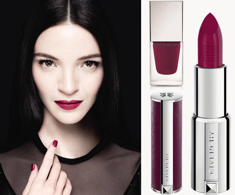 Givenchy-Mariacarla-Boscono-315-Framboise-Velours--Le-Rouge-lipstick-and-Le-Vernis