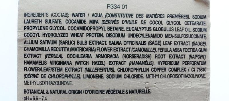 Phyto PhytoNeutre Clarifying Detox Shampoo Review ingredients