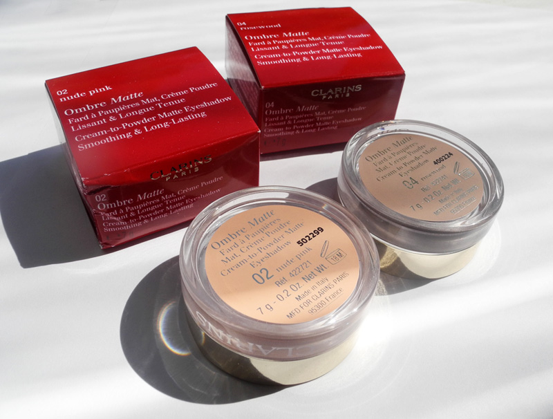 Clarins Ombre Matte Eye Shadows Review and Swatches 02 nude pink 04 rosewood