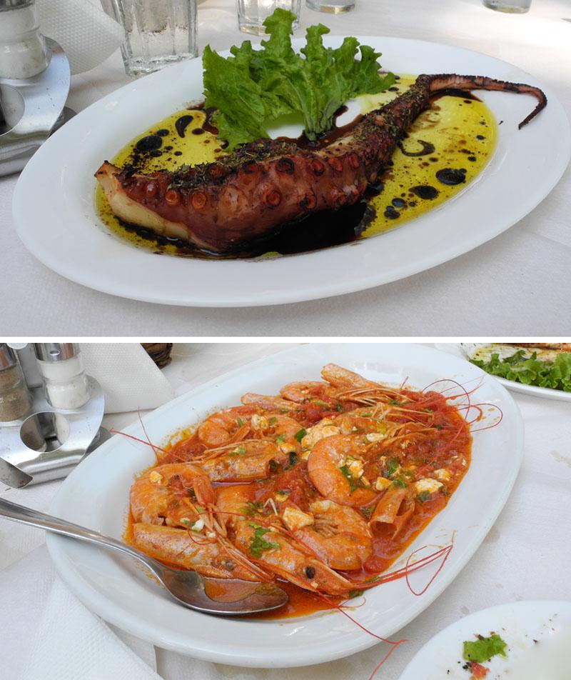 Greece holiday makeup4all food prawn octopus
