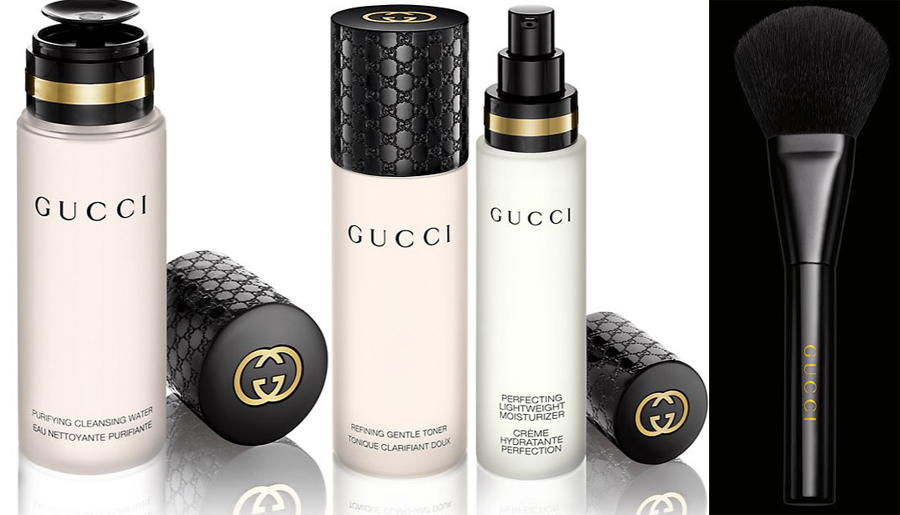 Gucci beauty line skincare and brushes
