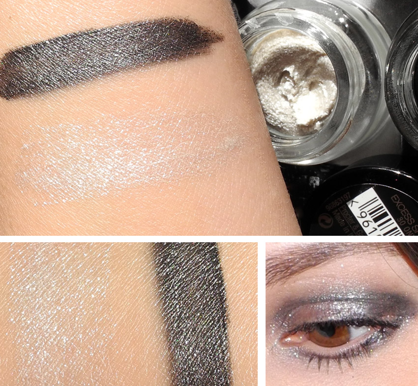 Max Factor Excess Shimmer Eye Shadows Review and Swatches Onyx and Crystal applied