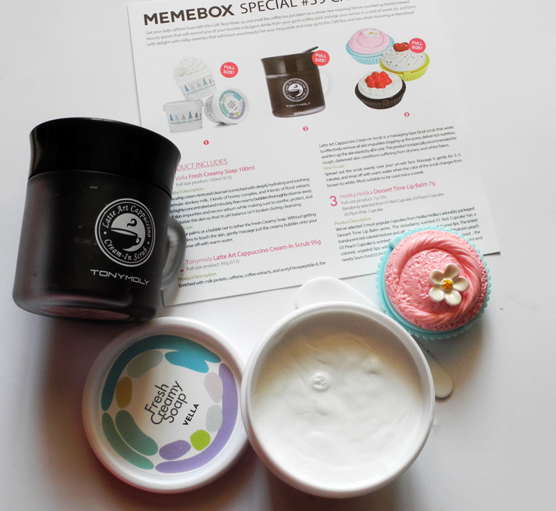 MeMe Korean Beauty Box 39 Cafe Edition scrub sopa lip balm