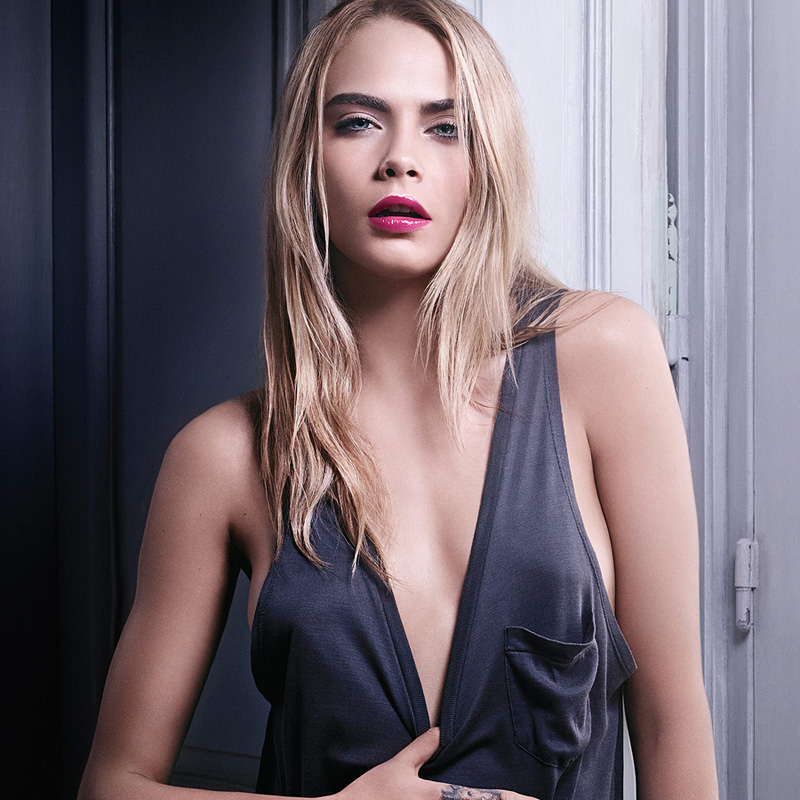 Yves Saint Laurent Volupté Tint-In-Oil for Spring 2015 promo with Cara Delevigne