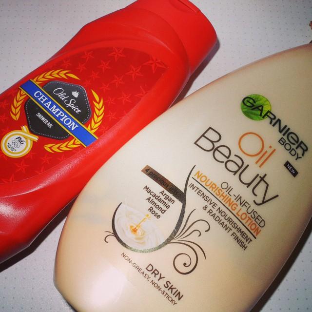 Oldspice shower gel and Garnier Oild Beauty body lotion