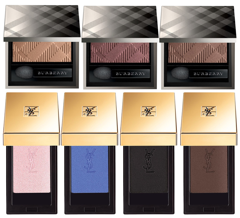 Spring 2015 Eye Shadows Burberry, YSL monos