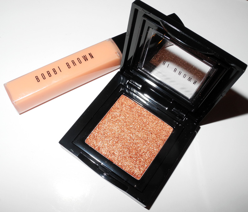 Bobbi Brown Sheer Lip Gloss in Almost Peach and  Sparkle Eye Shadow in Golden Peach spring 2015 review and swatches